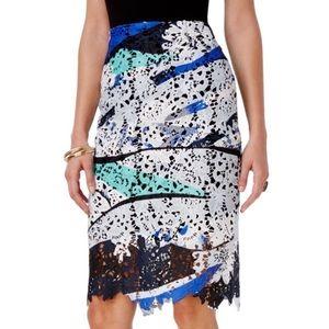 BAR III Printed Lace A-line Pencil Skirt medium